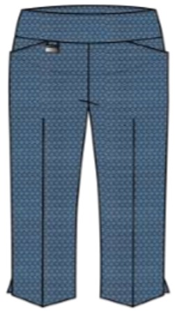 Lisette L. Sport Capri Pants Style 24067 (With Pockets) Tiki Print Color Denim Blue
